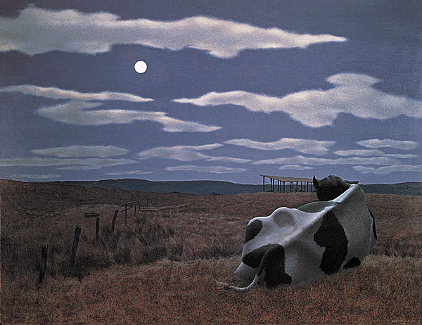 Moon and Cow — painting by Alex Colville