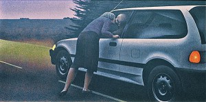 Kiss with Honda — painting by Alex Colville