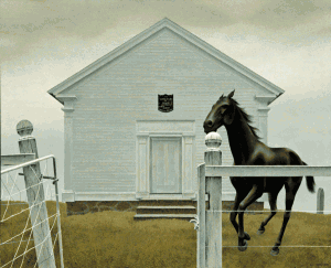 Church and Horse — painting by Alex Colville